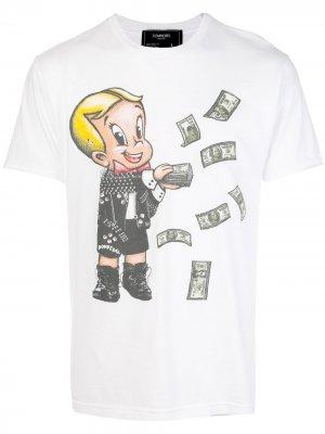 Декорированная футболка с принтом DOMREBEL. Цвет: белый