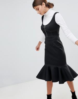 Платье-футляр миди с оборкой и контрастными строчками ASOS-Черный ASOS DESIGN