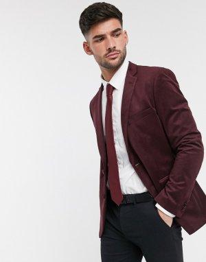Бархатный приталенный пиджак с острыми лацканами -Красный French Connection