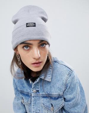 Серая шапка-бини Cheap Monday. Цвет: серый