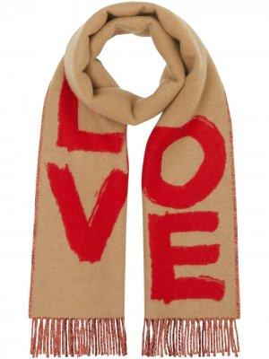 Кашемировый шарф с принтом Burberry. Цвет: нейтральные цвета
