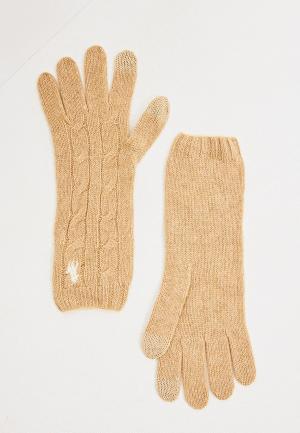 Перчатки Polo Ralph Lauren. Цвет: бежевый