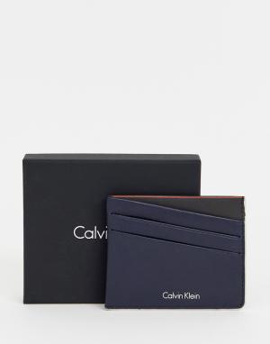 Темно-синяя визитница Calvin Klein. Цвет: синий