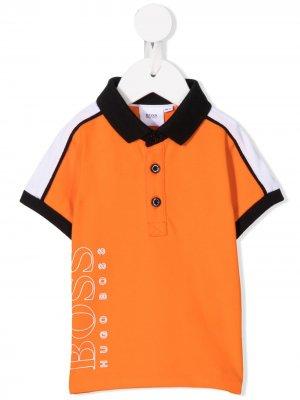 Рубашка поло в стиле колор-блок Boss Kids. Цвет: оранжевый