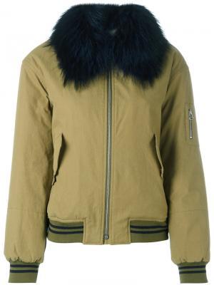 Куртка бомбер Yves Salomon Army. Цвет: зеленый
