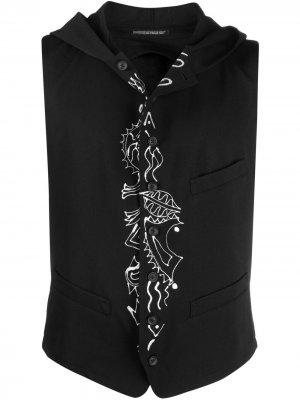 Жилет с капюшоном Yohji Yamamoto. Цвет: черный