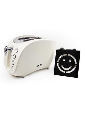 Тостер со смайликом AKAI. Цвет: белый