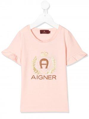 Футболка с логотипом Aigner Kids. Цвет: розовый