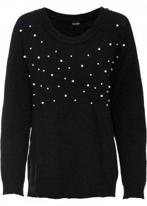 Пуловер с бусинами bonprix. Цвет: черный