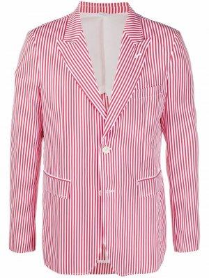 Пиджак оверсайз в полоску Comme Des Garçons Shirt. Цвет: красный