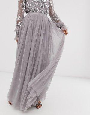 Серая тюлевая юбка макси в горошек -Серый Needle & Thread