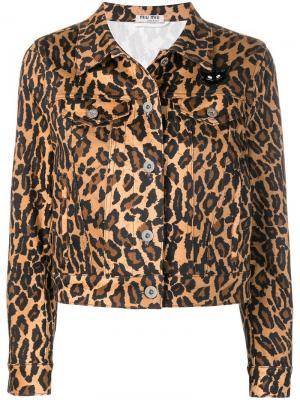 Джинсовая куртка с леопардовым принтом Miu