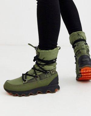 Зеленые непромокаемые ботинки на шнуровке -Зеленый Sorel