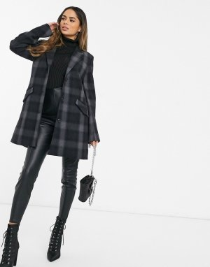 Шерстяное пальто в клетку -Черный G-Star