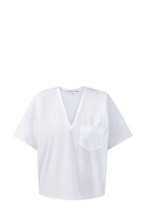 Блуза из хлопка с цельнокроеными рукавами ALEXANDER TEREKHOV. Цвет: белый