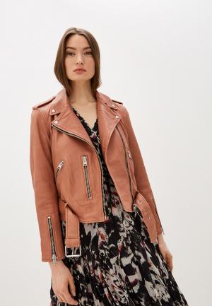 Куртка кожаная AllSaints. Цвет: бежевый
