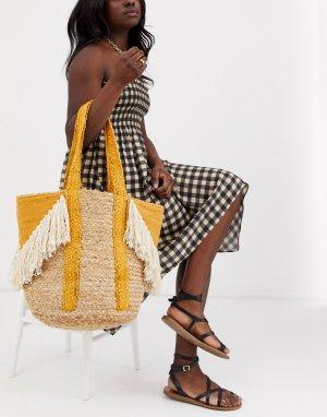 Пляжная соломенная сумка с бахромой -Желтый America & Beyond