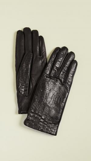 Croc Leather Gloves Carolina Amato