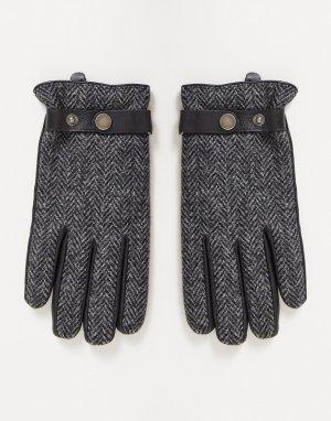 Перчатки из кожи и твида -Черный цвет Boardmans