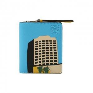 Кожаный футляр для кредитных карт Loewe. Цвет: синий
