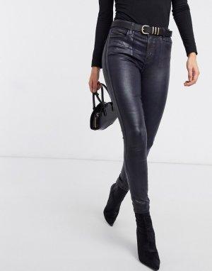 Темно-синие зауженные джинсы с завышенной талией из ткани имитацией кожи Alana-Синий J Brand