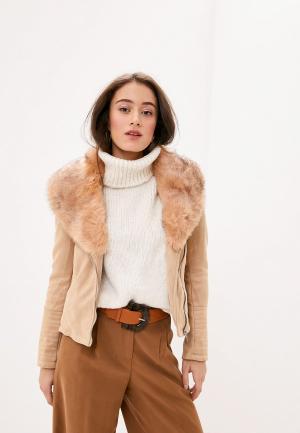 Куртка кожаная Koton. Цвет: коричневый