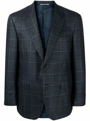 Однобортный пиджак в клетку Canali. Цвет: зеленый