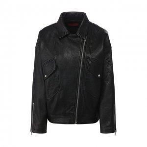 Кожаная куртка BOSS. Цвет: чёрный