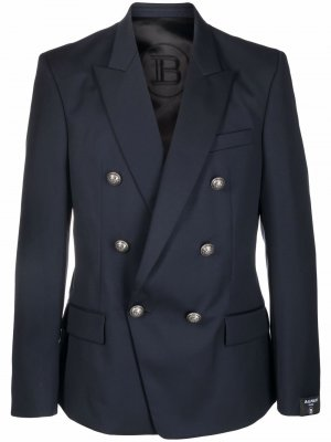 Двубортный пиджак Balmain. Цвет: синий