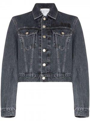 Укороченная джинсовая куртка с вышитым логотипом Helmut Lang
