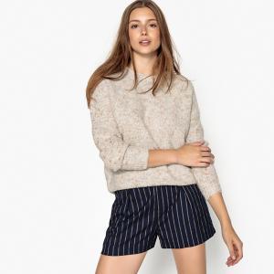 Пуловер с круглым вырезом из плотного трикотажа SEE U SOON. Цвет: бежевый