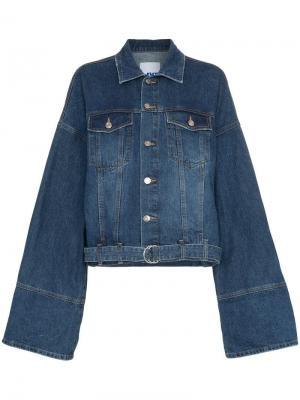 Джинсовая куртка с отворотами на манжетах SJYP. Цвет: синий