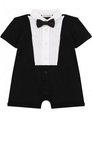 Хлопковый песочник с галстуком-бабочкой Dolce & Gabbana. Цвет: черный