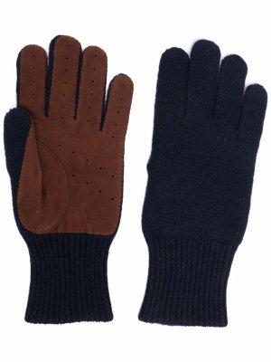 Кашемировые перчатки с перфорацией Brunello Cucinelli. Цвет: синий