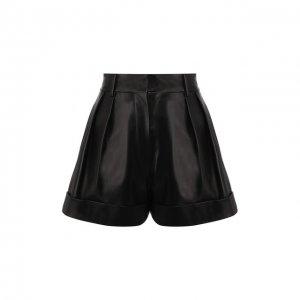 Кожаные шорты Valentino. Цвет: чёрный