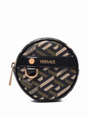 Круглый кошелек для монет с узором La Greca Versace. Цвет: черный