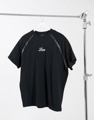 Oversized-футболка из плотного джерси с вышивкой спереди и декоративными швами искусственной кожи -Черный ASOS DESIGN