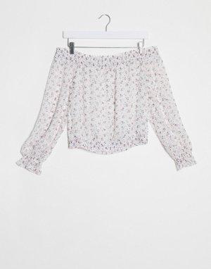 Белый топ с открытыми плечами и цветочным принтом Abercrombie & Fitch