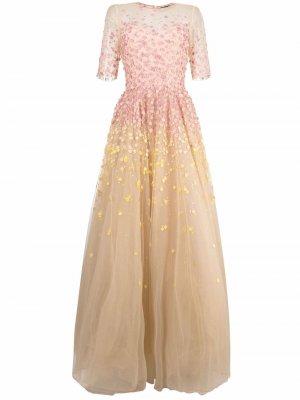 Вечернее платье с цветочной аппликацией Jenny Packham. Цвет: нейтральные цвета