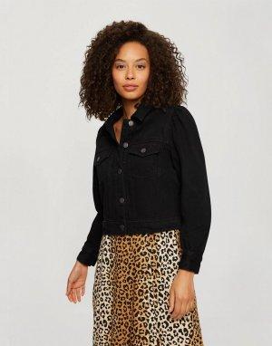 Черная джинсовая куртка с объемными рукавами -Черный цвет Miss Selfridge