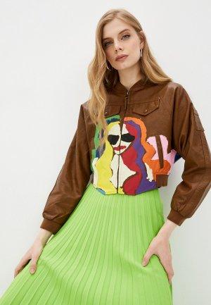 Куртка кожаная W.sharvel. Цвет: коричневый