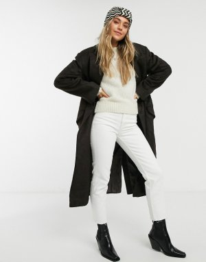 Коричневое пальто макси в мужском стиле с начесом -Коричневый ASOS DESIGN