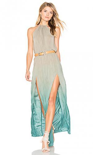 Платье на бретельках с разрезом Blue Life. Цвет: зеленый