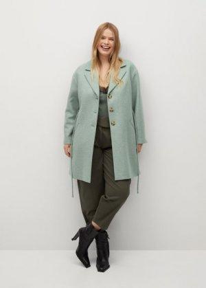 Пальто из шерсти с поясом - Aqua Mango. Цвет: пастельно-зеленый