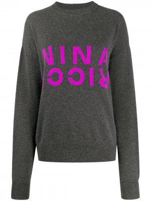 Джемпер с логотипом Nina Ricci. Цвет: серый
