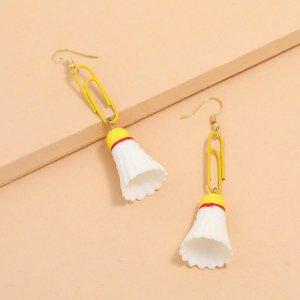 Серьги-подвески в форме бадминтона SHEIN. Цвет: многоцветный
