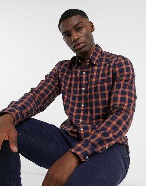 Рубашка из эластичной ткани в клетку с длинными рукавами -Красный J Crew