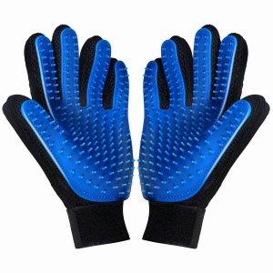 Двухцветные перчатки для груминга домашних животных 1 пара SHEIN. Цвет: синий