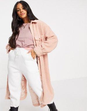 Длинная куртка-рубашка из искусственного меха розового цвета -Розовый Jayley