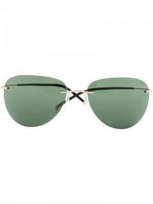 Солнцезащитные очки в массивной оправе Silhouette. Цвет: зеленый